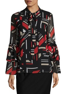 Calvin Klein GeometricPrint Bell Sleeved Top