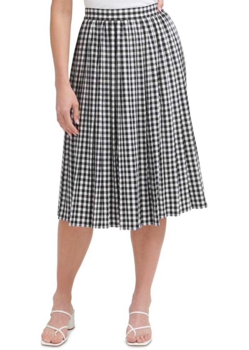Calvin Klein Gingham Plaid A-Line Midi Skirt