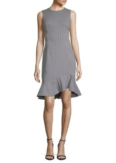 Gingham Ruffle-Hem Sheath Dress