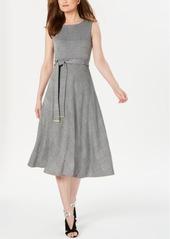 Calvin Klein Glen Plaid Belted Midi Dress