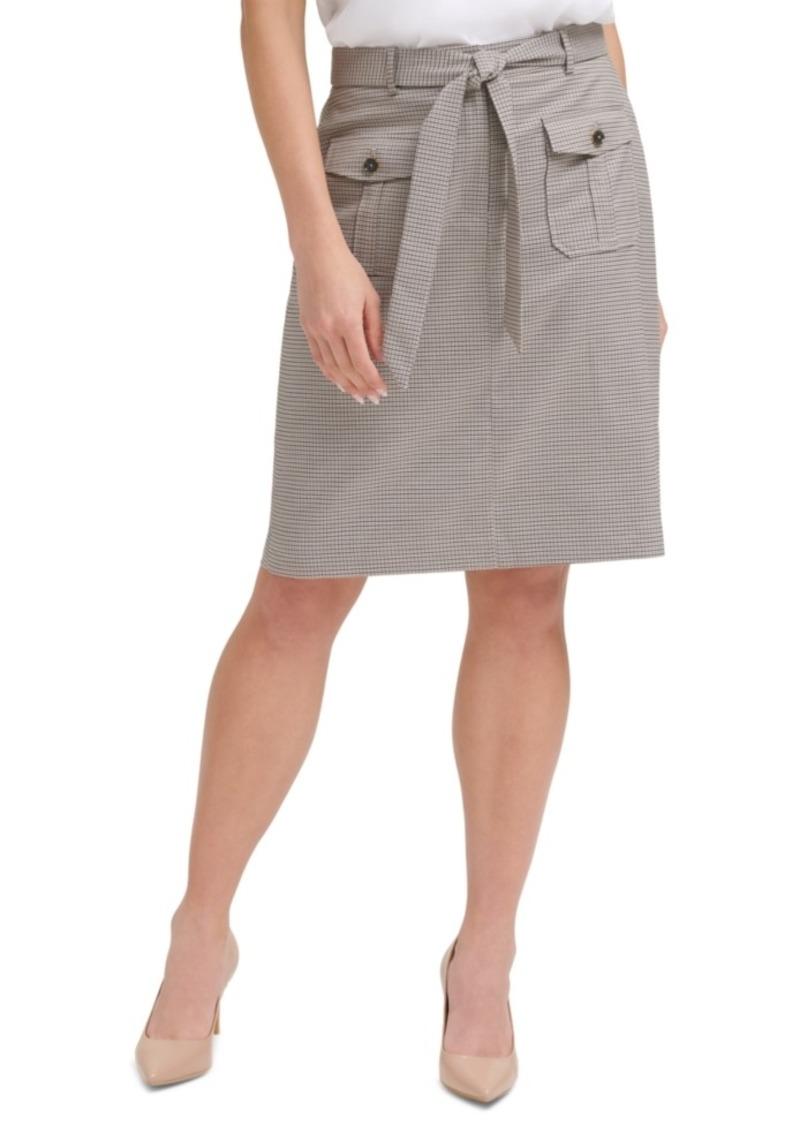 Calvin Klein Glen Plaid Belted Skirt