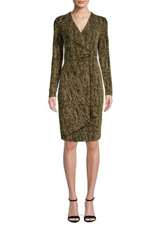 Calvin Klein Glitter Ruched Wrap Dress