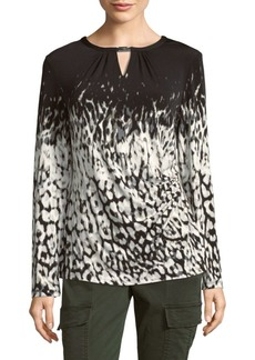Graphic Long-Sleeve Blouse