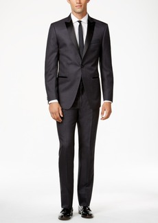 Calvin Klein Grey with Black Peak Lapel Slim-Fit Tuxedo