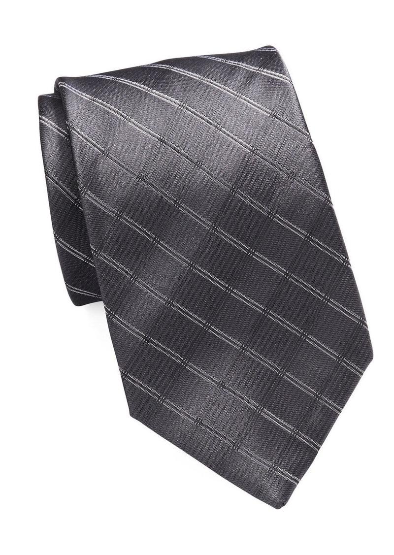CALVIN KLEIN Grid Textured Silk-Rich Tie
