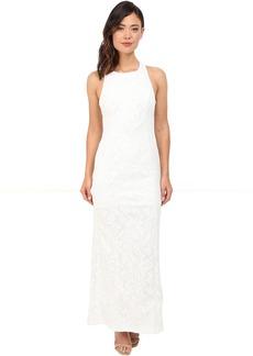 Calvin Klein Halter Neck Lace Gown CD6B1V6E