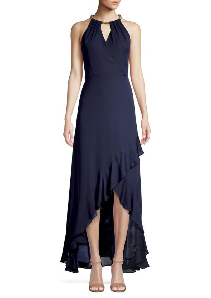 Calvin Klein Halter Ruffle-Hem Dress