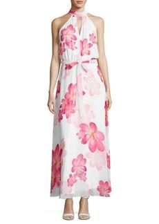 Calvin Klein Halterneck Floral-Print Gown