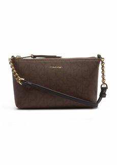 Calvin Klein Hayden Key Item Signature Top Zip Chain Crossbody Chocolate Black