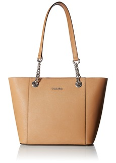 Calvin Klein Hayden Saffiano Leather East/West Top Zip Chain Tote