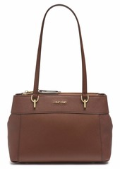 Calvin Klein Hayden Saffiano Leather Triple Compartment Shoulder Bag Satchel WALNUT