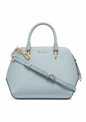 Calvin Klein Hayden Saffiano Leather Triple Compartment Chain Satchel TWILIGHT BLUE