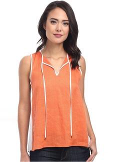 Calvin Klein Hi-Lo Mixed Linen Top