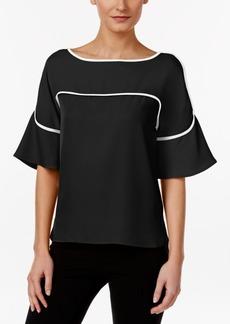 Calvin Klein High-Low Bell-Sleeve Top