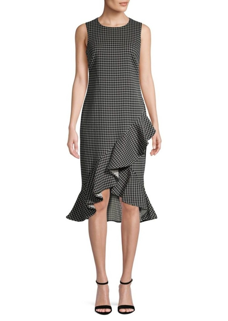 Calvin Klein High-Low Pincheck Sheath Dress