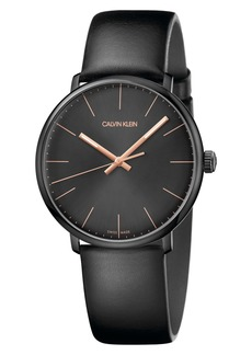 Calvin Klein High Noon Leather Strap Watch, 40mm