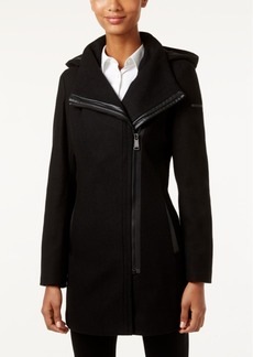Calvin Klein Faux-Leather-Trim Asymmetrical Coat