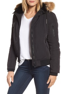 Calvin Klein Hooded Bomber Jacket with Faux Fur Trim