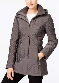Calvin Klein Hooded Chevron Quilted Coat