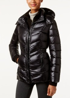 Calvin Klein Hooded Cinched-Waist Down Puffer Coat