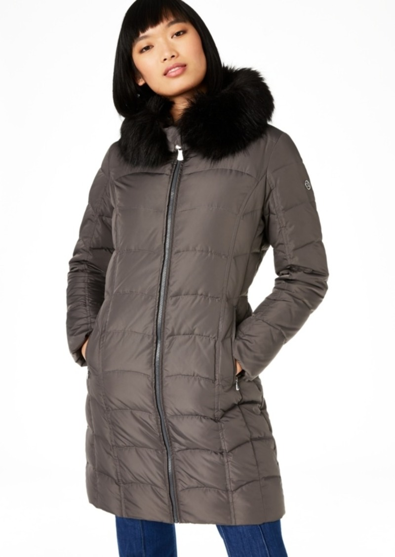 Calvin Klein Hooded Faux-Fur-Trim Down Puffer Coat, Created For Macy's