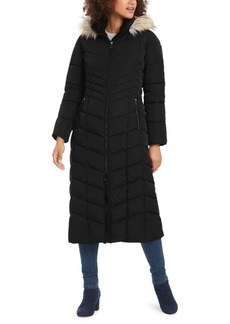 Calvin Klein Hooded Faux-Fur-Trim Maxi Puffer Coat