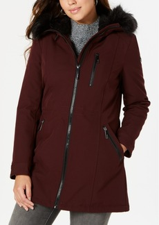 Calvin Klein Hooded Faux-Fur-Trim Raincoat