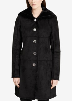 Calvin Klein Hooded Faux-Shearling Walker Coat