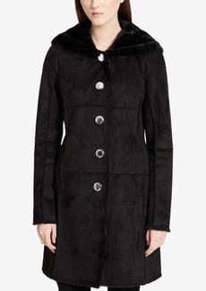 Calvin Klein Hooded Faux-Shearling Walker Coat