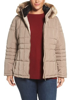 Calvin Klein Hooded Jacket with Faux Fur Trim (Plus Size)