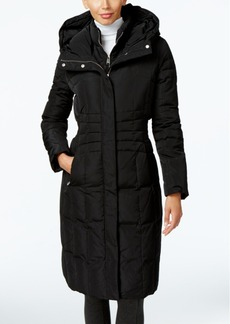 Calvin Klein Hooded Layered Long Down Puffer Coat