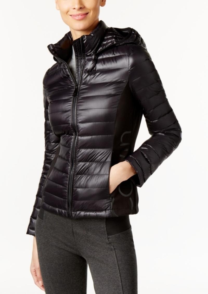 Calvin Klein Hooded Lightweight Logo Down Puffer Coat