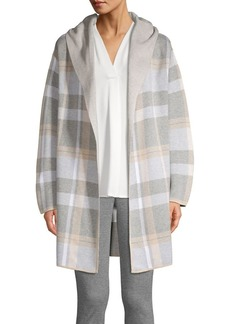 Calvin Klein Hooded Plaid Sweater Jacket