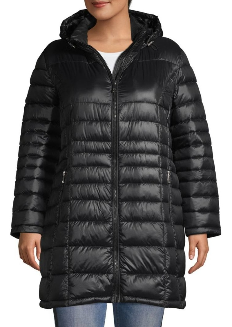Calvin Klein Plus Hooded Packable Puffer Coat