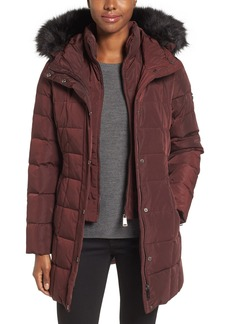 Calvin Klein Hooded Water Resistant Puffer Coat with Faux Fur Trim