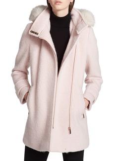 Calvin Klein Hooded Wool Blend Jacket with Faux Fur Trim