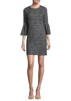 Calvin Klein Houndstooth Bell Sleeve Dress