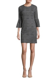 Houndstooth Bell Sleeve Dress