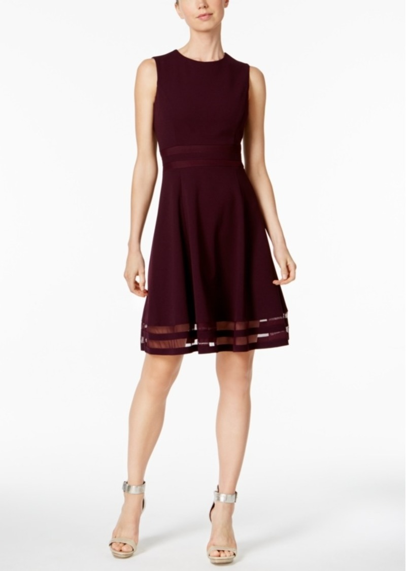 Calvin Klein Illusion-Trim Fit & Flare Dress, Regular & Petite Sizes