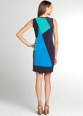 Calvin Klein indigo and green colorblock stretch jersey sleeveless dress