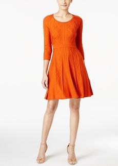 Calvin Klein Intarsia Fit & Flare Sweater Dress