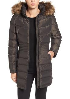Calvin Klein Iridescent Puffer Coat with Faux Fur Trim