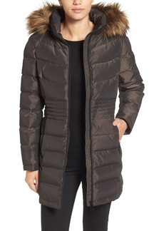 Calvin Klein Iridescent Puffer Coat with Faux Fur Trim
