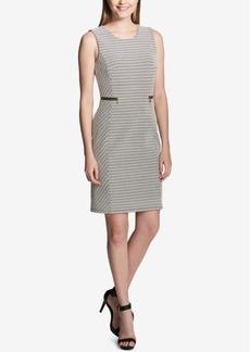 Calvin Klein Jacquard Zipper-Trim Sheath Dress