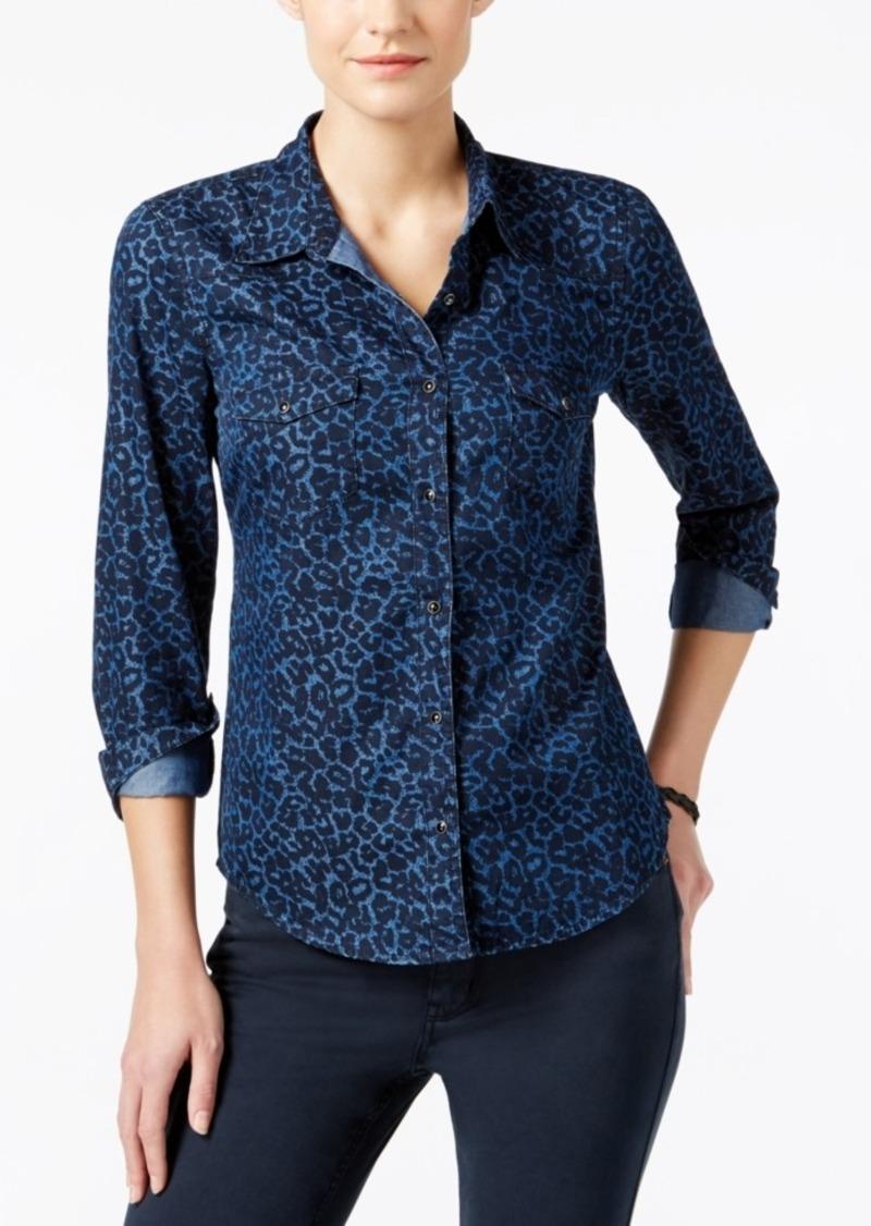 b6ff22ae54a Calvin Klein Calvin Klein Jeans Animal-Print Denim Shirt