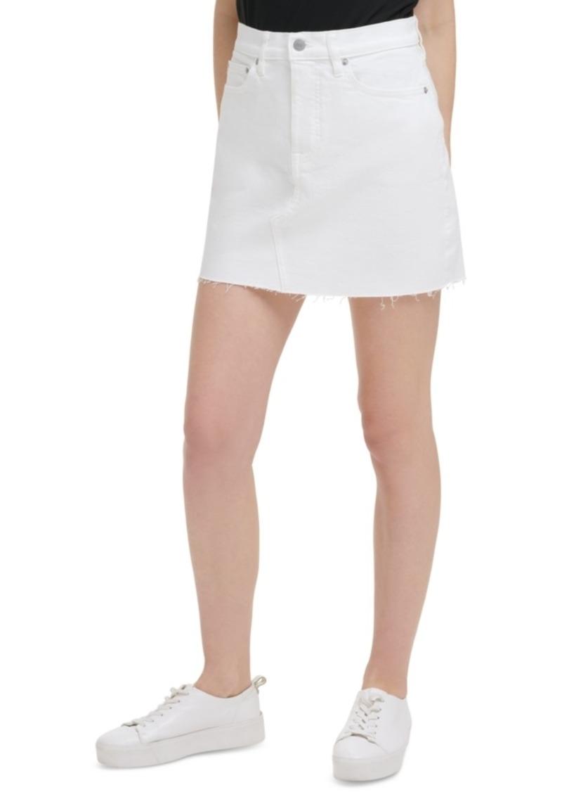 Calvin Klein Jeans Basic White A-Line Jean Skirt