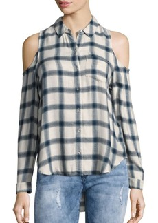 Calvin Klein Jeans Brushed Cold-Shoulder Checked Shirt
