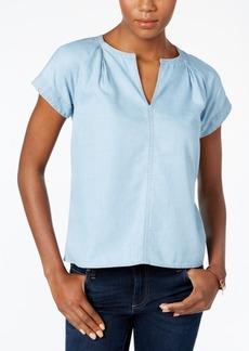 Calvin Klein Jeans Chambray Split-Neck Top