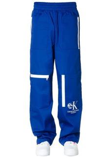 Calvin Klein Jeans Cotton Blend Track Pants Colour Blue