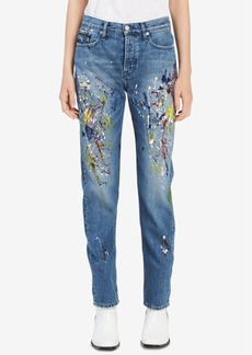 Calvin Klein Jeans Cotton Paint Splatter Straight-Leg Jeans